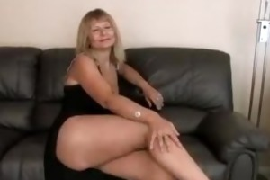 breasty aged fingering her curly slit