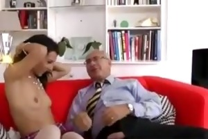 chick in stockings sucks old man