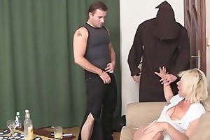 two dudes slam old whore