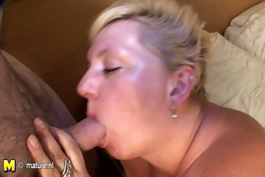 big blonde mother sucking cock and getting cum