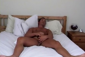 athletic straight guy rock masturbating
