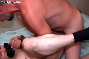 old stud licks dark hole and fucking anally