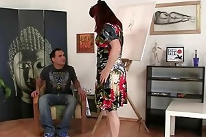 Cock hungry mature paintress takes it hard