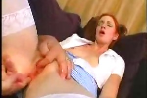young redhead beauty drilled by mature man