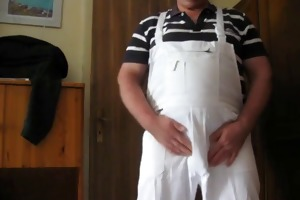 grandpa jerking off in white overall