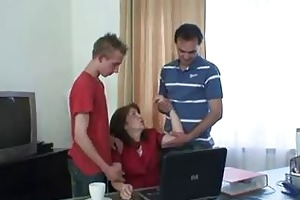 dad and son group-sex old whore