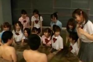 hawt japanese honeys massaging two studs
