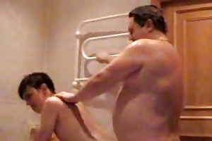 chubby gay daddy bangs his young twink in bathroom