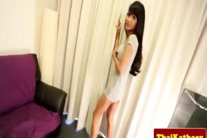 busty thai shelady rubs her thick ramrod