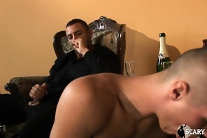 2 muscular dudes in suits get serviced by younger