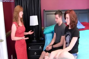 mommy teaches son and daughter about sex