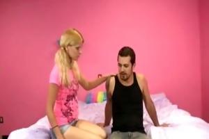blonde stepsister gives her stepbrother a