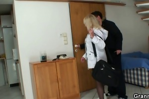 blonde grandma in black nylons copulates