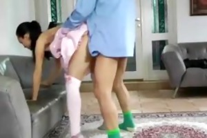 teen in pink dress acquires fucked by old dude