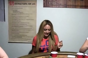 young gals banging on poker night
